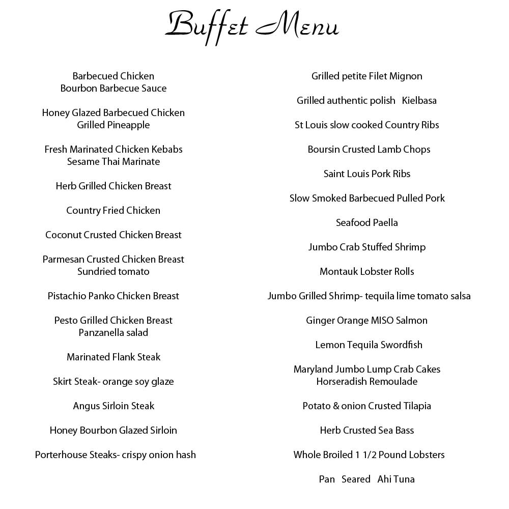 Wedding Reception Food Menu: On-Site Long Island Barbeque Catering
